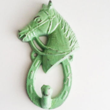 Horse Nursery Decor, Pony Wall Hook, Green Key Hook, Modern Rustic Towel Hanger, Country Home Decor, Spring Trends