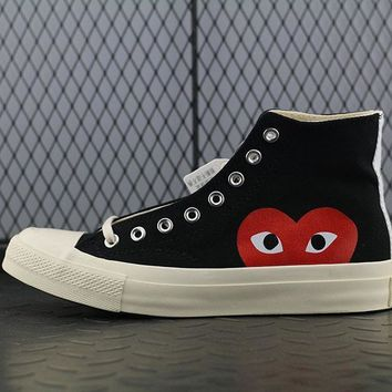 Converse Cdg Play Addict High Tops Fashion Canvas Flats Sneakers Sport Shoes Black