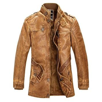 2017 New High Quality Leather Jacket For Men Slim Warm Stand Collar Faux Leather Moto Jacket