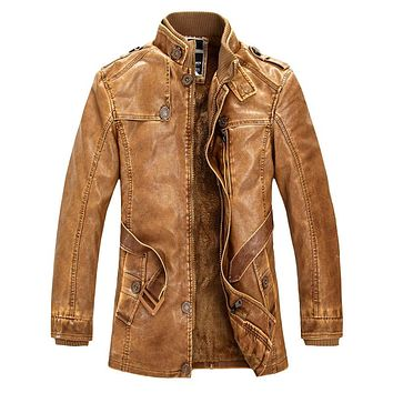 New High Quality Leather Jacket For Men Slim Warm Stand Collar Faux Leather Moto Jacket