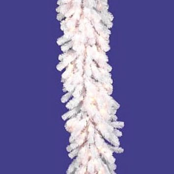 """9' x 20"""" Pre-Lit Crystal White Artificial Spruce Christmas Garland -Clear Lights"""