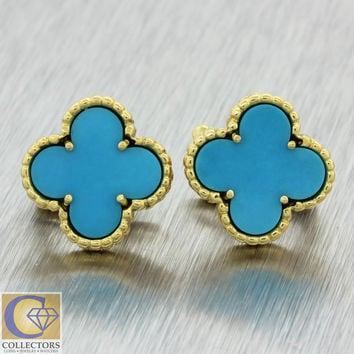 Vintage Van Cleef & Arpels Vintage Alhambra 18k Yellow Gold Turquoise Earrings