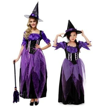 Halloween Children Baby Girl or adult women Witch Dress Costume Costumes Party Cosplay Performance purple Clothes
