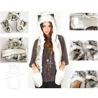 Free Shipping 1pc/Lot High Quality Crazy Fox Precious Faux Fur Hood Animal Hat With Ear Flaps and Hand Pockets 3 in 1 Function-in Skullies & Beanies from Apparel & Accessories on Aliexpress.com | Alibaba Group