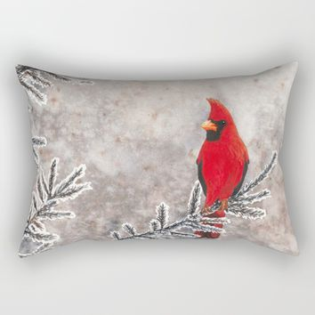 The Red Cardinal in winter Rectangular Pillow by Savousepate