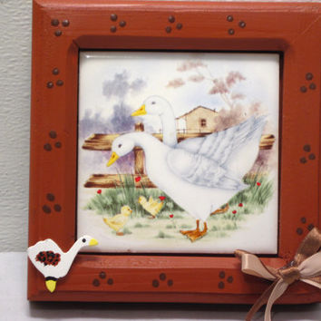 Country, Farm, Duck, Duckling, Kitchen, Ceramic Tile, Décor, Home, Art, Wood, Frame, Rustic, Goose, Gosling, Countryside, Wooden, Decorative