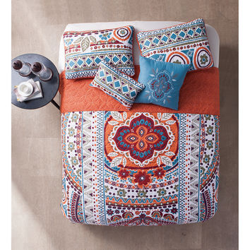 Ascia Boho 5PC Reversible Quilt & Pillows Set