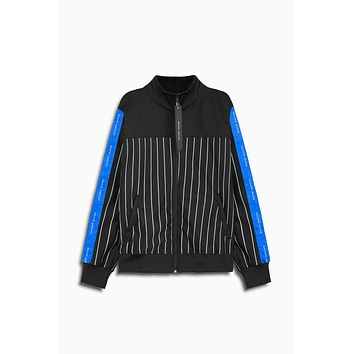 slim track jacket / black stripe + black + cobalt