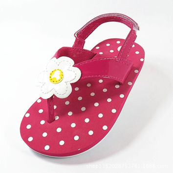 2015 new fashion flowers Polka Dot children sandals grils shoes baby flip-flop slippers girls sandals pink children shoes