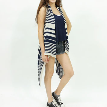 Knitted sleeveless stripe navy acrylic casual cardigan