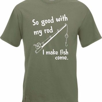 CREYXT3 Korean T-Shirts So Good With My Rod I Make Fish Come Fisher T-Shirt New Mens Gift Funny Fisher custom Tee Shirt Printing