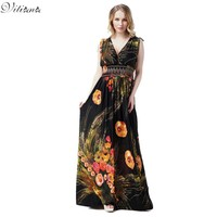 Womens Summer Elegant Boho Beach Clothing Ladies Bohemian Print Maxi Long Dress Plus Size 6XL 7XL