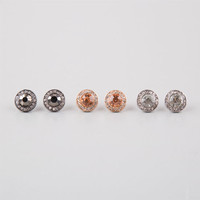 Full Tilt 3 Pairs Rhinestone Button Earrings Silver One Size For Women 25157314001