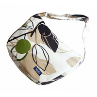 White beige bike messenger bag with green berry pattern 1.1 BASIC COLLECTION