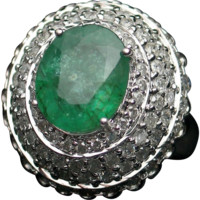 Emerald Cocktail or Dinner Ring with 1.5cts of Diamonds -FREE SHIPPING in Canada & USA