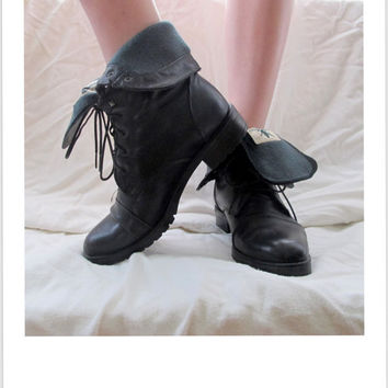 Black Lace Up Roper Womens Boots by inzoopsia on Etsy