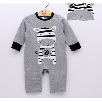 Baby Girls Clothing Fashion Baby Casual Cartoon Baby Boy Girl Rompers Long Sleeve +Hat Baby Clothing