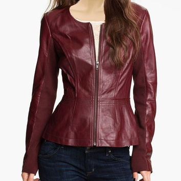 Women's maroon collarless leather jacket