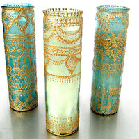 Tall Container Candle in Hand Painted Green Glass by LITdecor