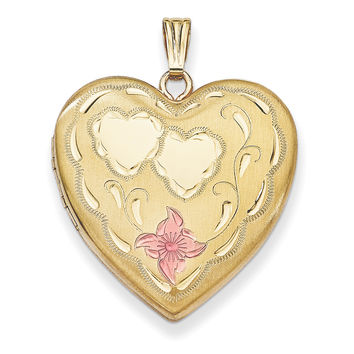 1/20 Gold Filled 4-Frame Enameled Heart Locket QLS116