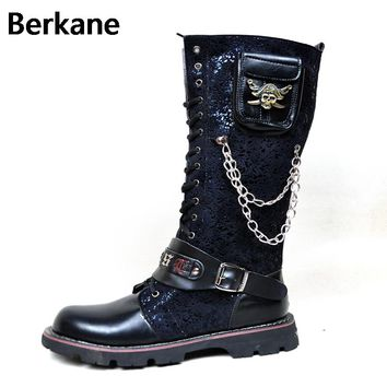 Black Army Gothic Boots Men Military Combat Metal Skull Buckle Motorcycle Punk High Leather Men's Shoes Rock Bota Masculina Hot