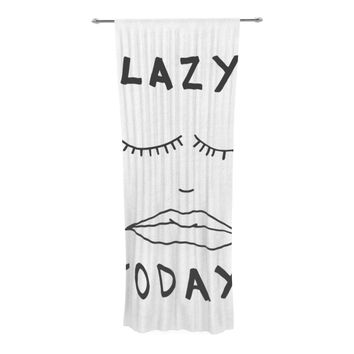"Vasare Nar ""Lazy Today White"" Typography Decorative Sheer Curtain"
