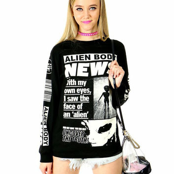 ALIEN BODY FLYING DISCS LONG-SLEEVE TEE