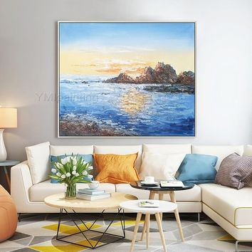 Abstract painting on canvas art oil painting original sea waves texture large Wall Art picture for living room home decor caudro decoracion