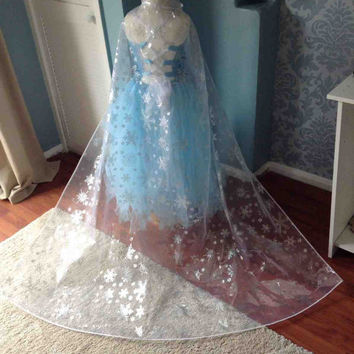 "BN Silver Sparkly Snowflake Frozen Elsa 1.5m / 59"" inch Long Cape - Drags on the Floor - age 3-11"