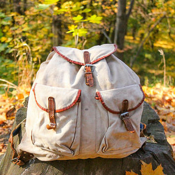 Soviet Rustic Rucksack / Vintage AGED Canvas & Genuine Leather Backpack / 1970's USSR Distressed Camping, Hiking, Travel, School Bag