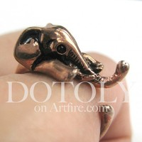 Miniature Elephant Ring in Copper Sizes 5 to 10 available | dotoly - Jewelry on ArtFire
