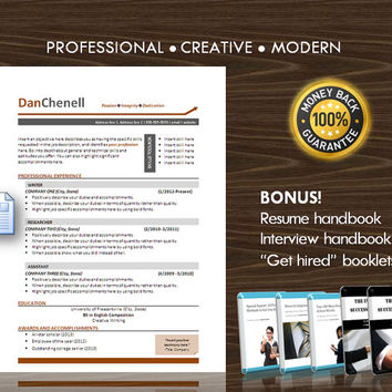 Resume Template / CV Template for MS Word / Professional and Modern Resume Design / Instant Digital Download / Mac or PC / Resume Handbook11