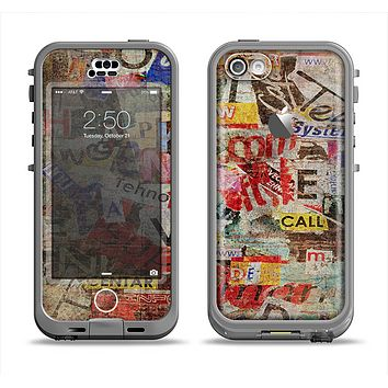The Torn Newspaper Letter Collage V2 Apple iPhone 5c LifeProof Nuud Case Skin Set