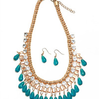 * TEAL GOLD NECKLACE & EARRING SET