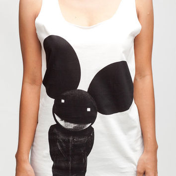 Deadmau5 Shirt Mickey Mouse Music Shirts Women Tank Top White Shirt Tunic Top Vest Sleeveless Women T-Shirt Size S M