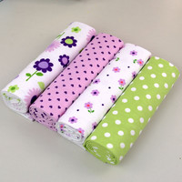 4Pcs/Pack 100% cotton supersoft flannel receiving baby blanket swaddle baby bedsheet 76*76CM baby blankets newborn