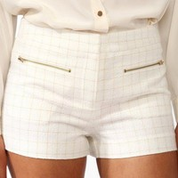 Metallic Grid Pattern Shorts