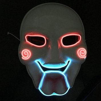 DCCKH6B Horrible LED Mask Saw Chainsaw Killer Mask Creepy Halloween Costume Clown Doll