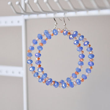 Hoop earrings, glass blue and rusty beads