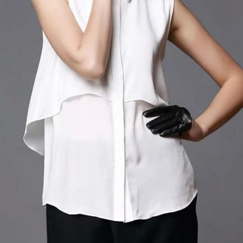 White Layered Chiffon Sleeveless Top