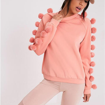 Pink Pom Pom Embellished Sweater