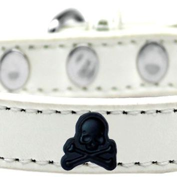 Skull Widget Dog Collar White Size 14