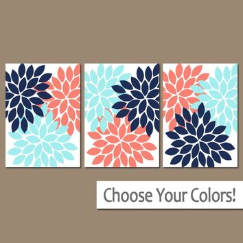 Coral Navy Blue Bedroom Pictures, CANVAS or Prints Bathroom Decor, Bedroom Pictures, Flower Wall Art, Flower Burst Dahlia Set of 3 Home