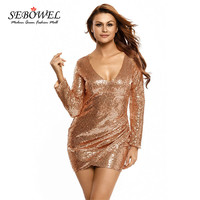 SEBOWEL 2016 Autumn Sequin Long Sleeve Mini Dress New Arrival Fashion Women Sexy Dresses Party Nigh Club Wear Black Friday Sales