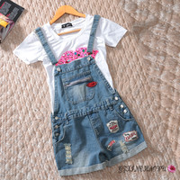 spring and summer loose big yards  thin female Korean student Siamese strap denim shorts  Overalls