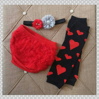 Valentine's Diaper Cover Set - Baby Girl valentine outfit - Leg Warmers Ruffle -  Baby Girl - Chiffon - Ready to Ship - Valentine's Bloomers