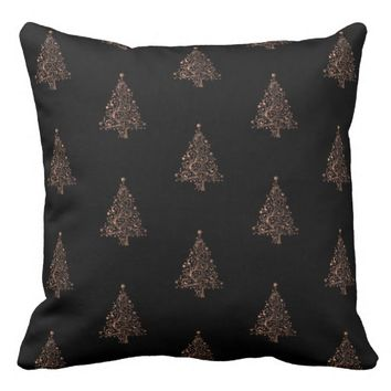 Merry Christmas Tree Pattern Black Brown Copper Throw Pillow