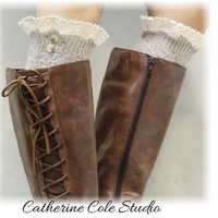 NORDIC WOODS Oatmeal tweed Lace Boot Socks, Scandinavian sophistication for all boot styles Made in America by Catherine Cole BKS2BL