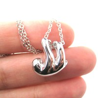 Sleek Abstract Sloth Shaped Animal Pendant Necklace in Silver | DOTOLY