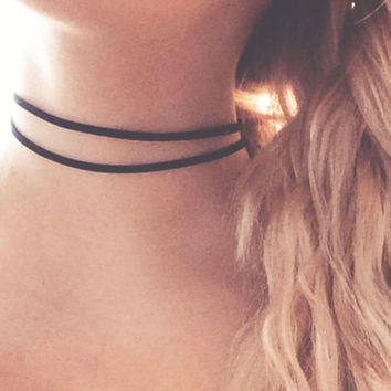 Black Choker Double Suede